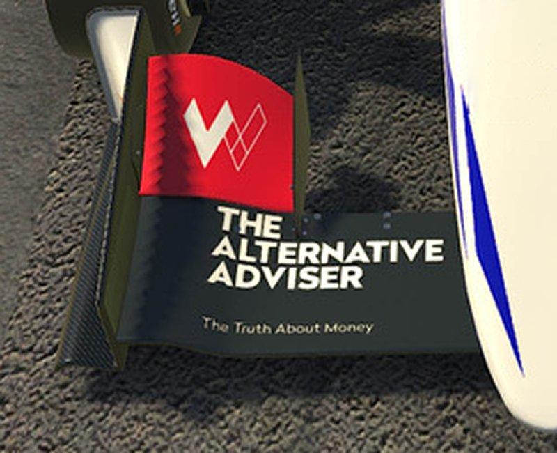The Alternative Adviser racing car sponsorship logo