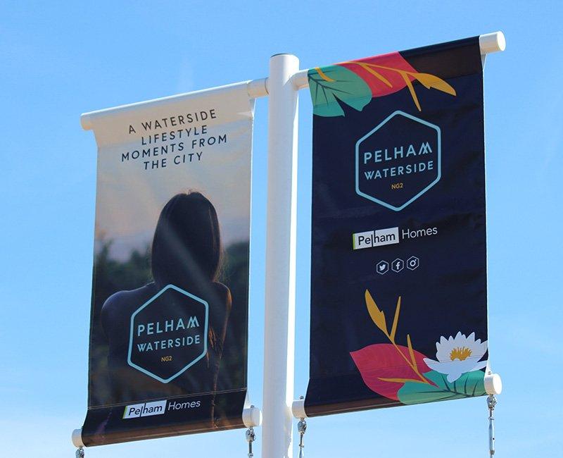 Pelham Waterside banner flag design from branding project