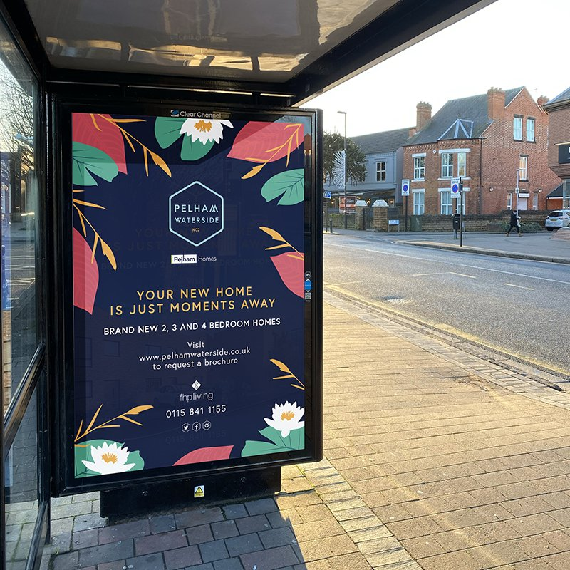 Pelham Waterside Nottingham Out of House Advertising from brand design project